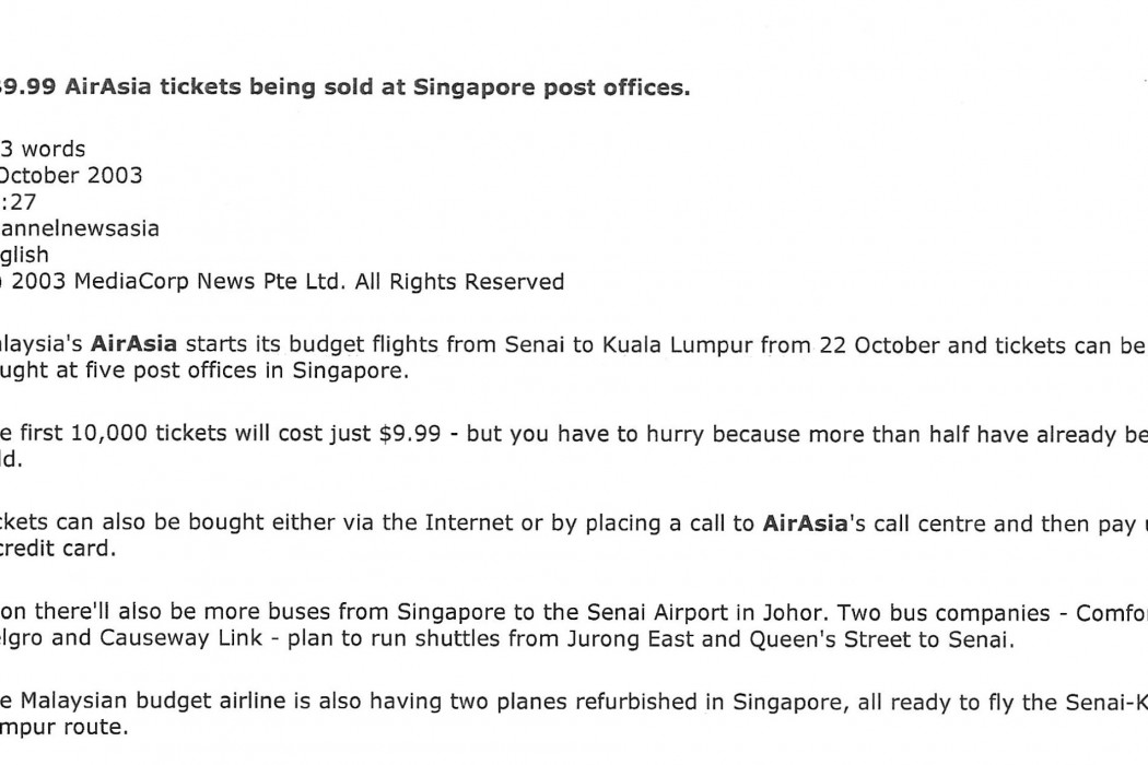 S$9.99 airasia tickets being sold at Singapore post offices