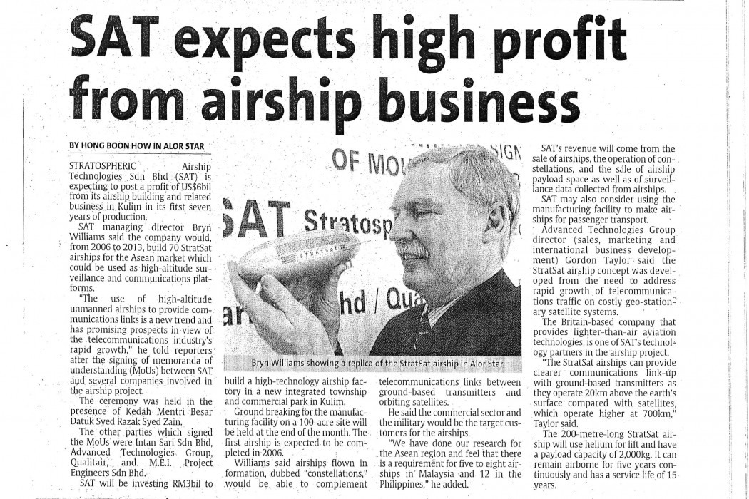 SAT expects high profit from airship business