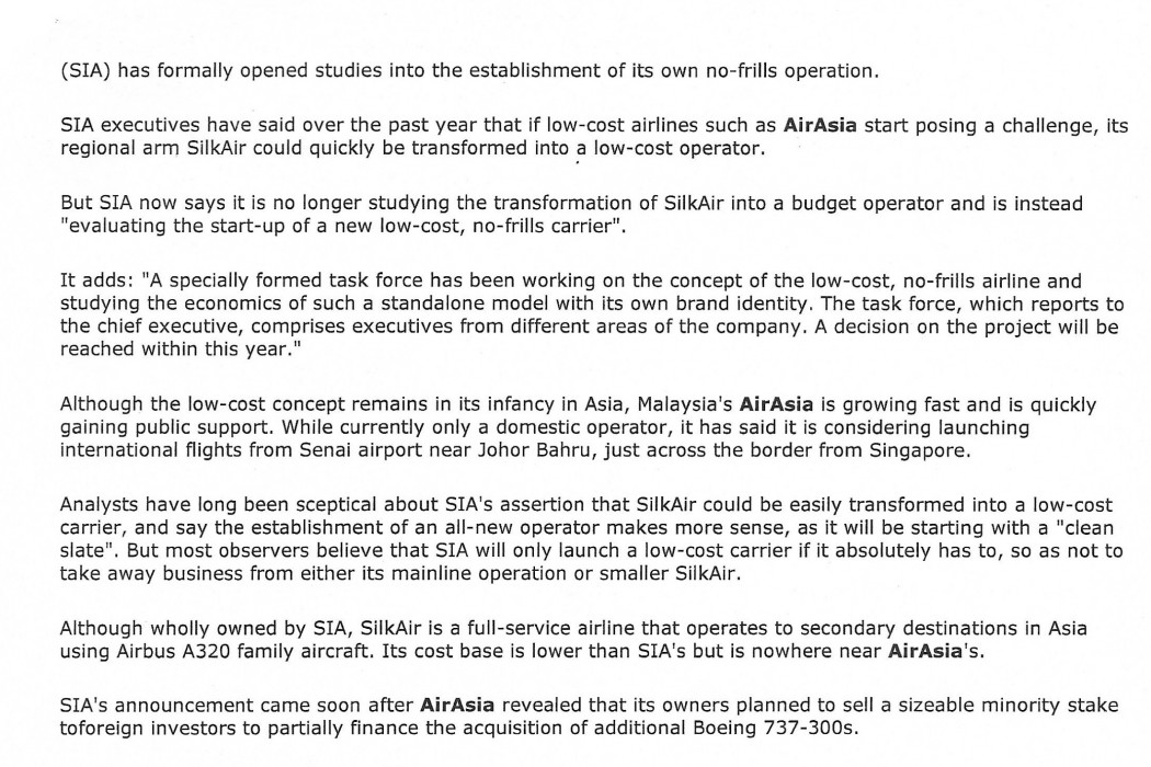 SIA examines no-frills market entry - 02