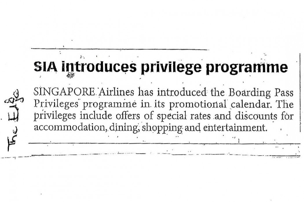 SIA introduces privilege programme
