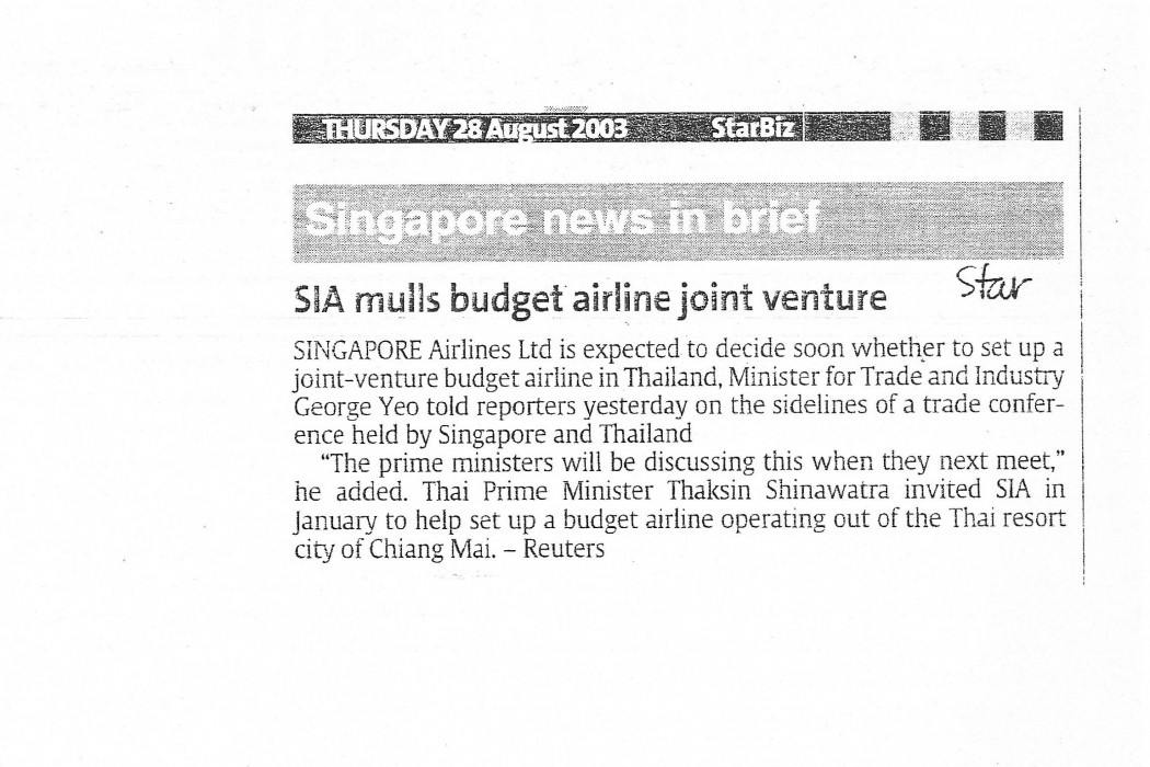 SIA mulls budget airline joint venture