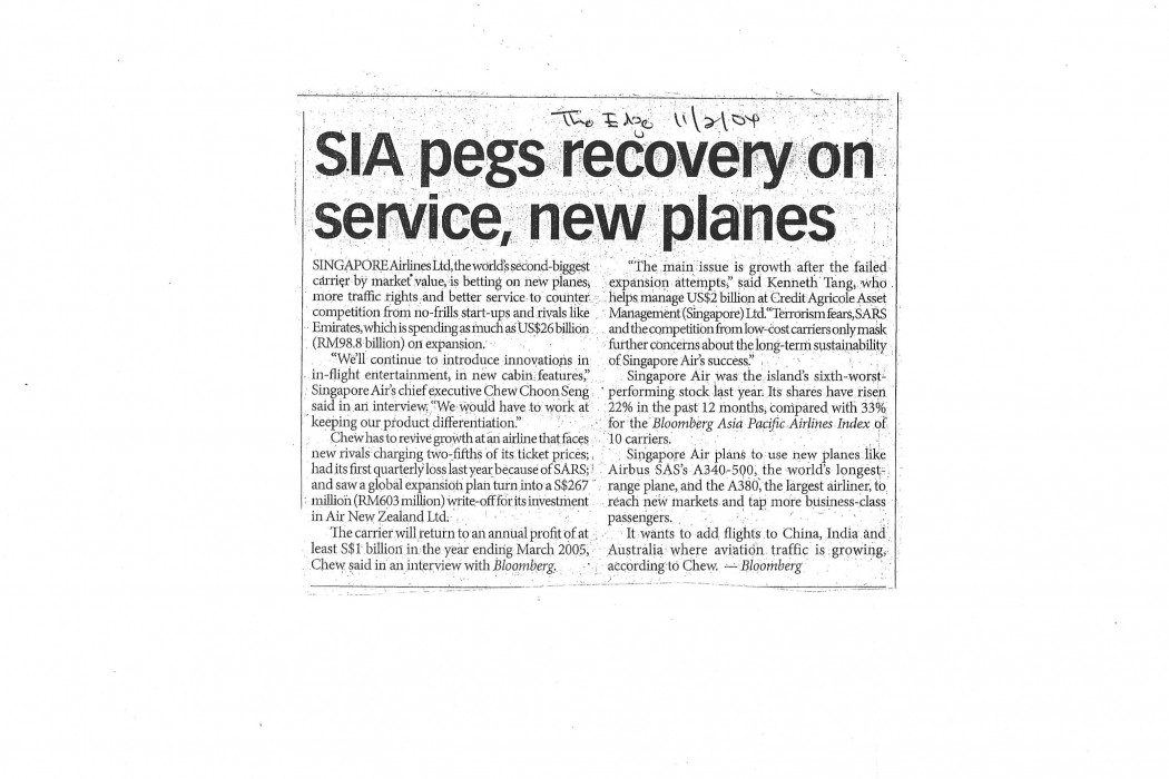 SIA pegs recovery on service, new planes