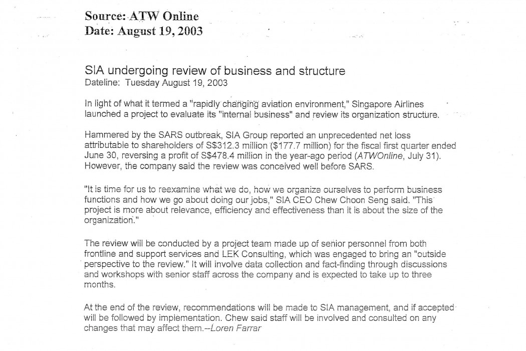 SIA undergoing review of business and structure