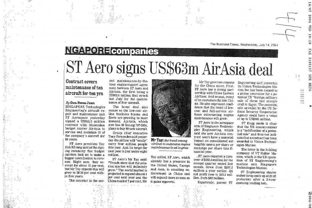 ST Aero signs US$63m airasia deal
