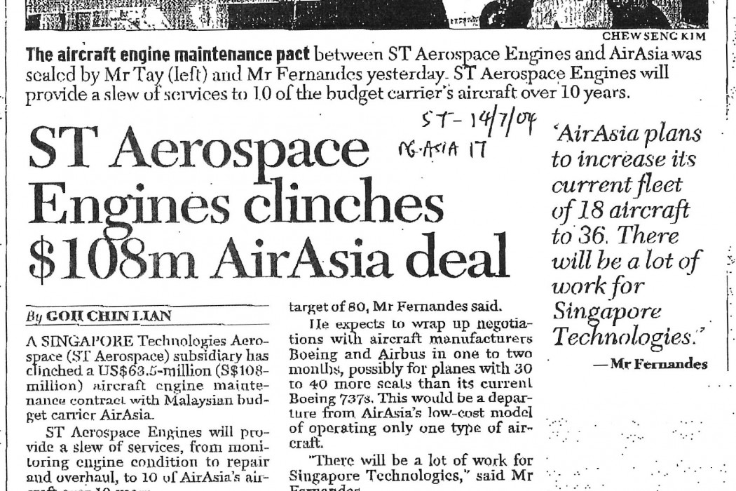ST Aerospace Engines clinches $108m airasia deal