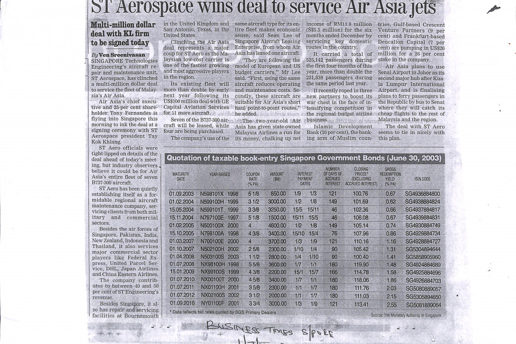 ST Aerospace Wins Deal To Service airasia Jets