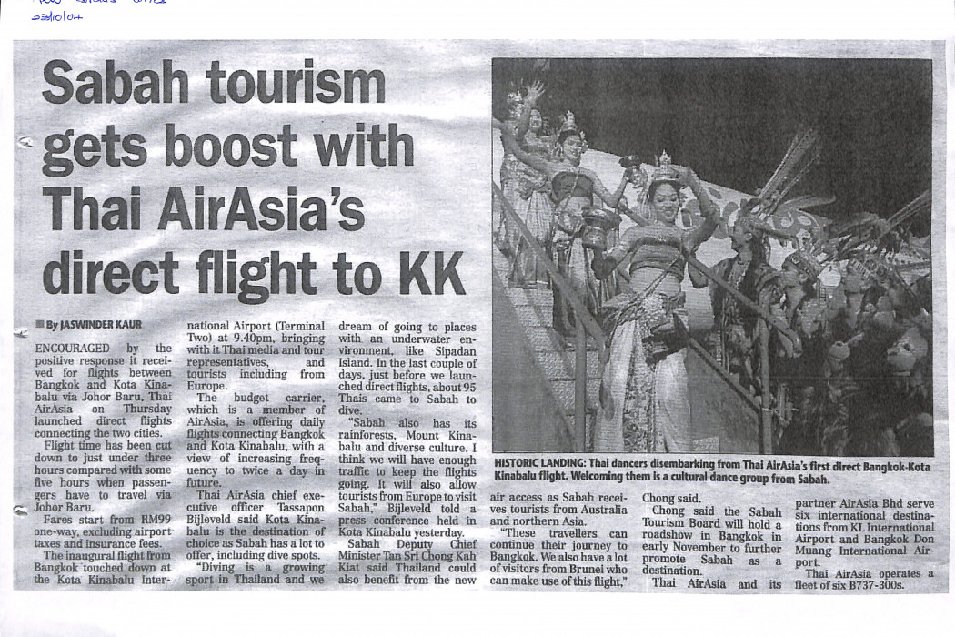 Sabah tourism gets boost with Thai airasia's direst flight to KK