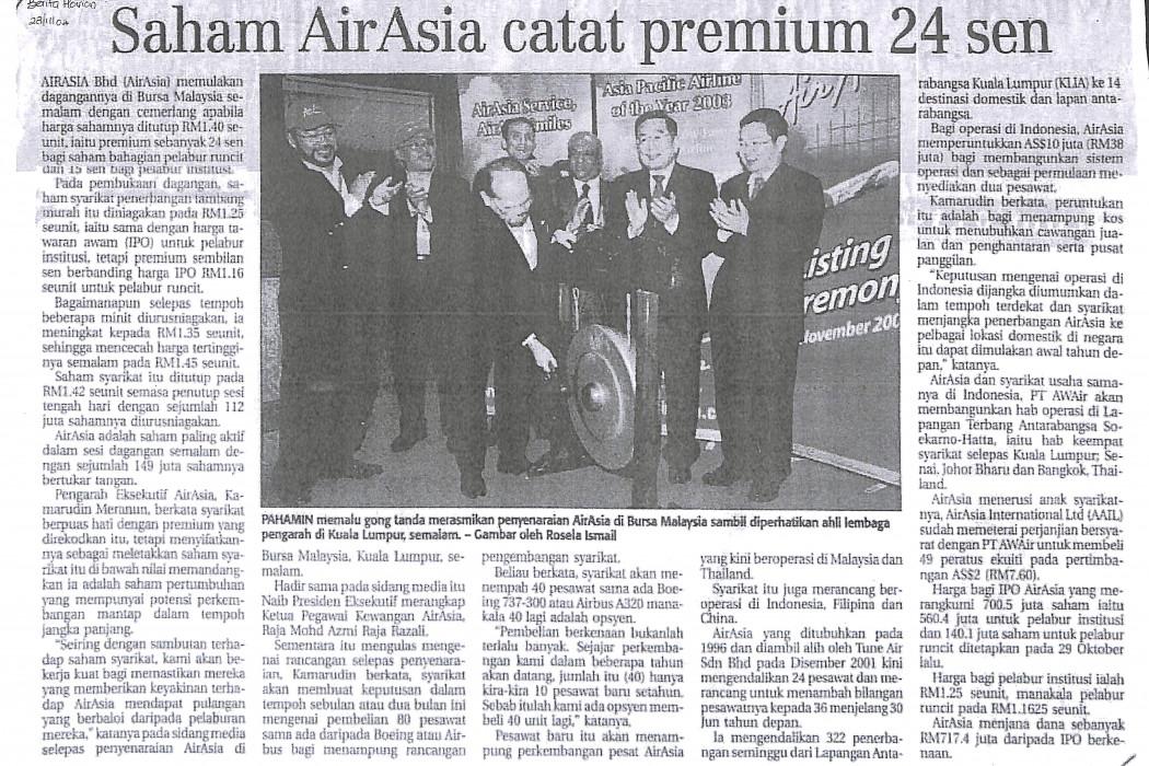 Saham airasia catat premium 24 sen
