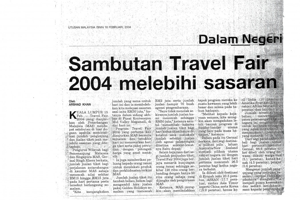 Sambutan Travel Fair 2004 melebihi sasaran