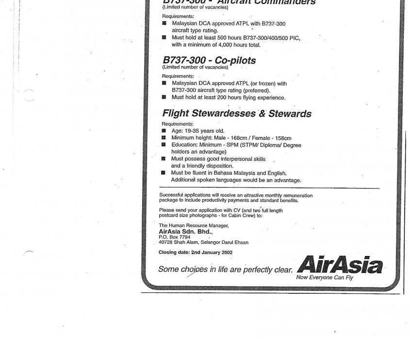 A vacancies posting in December 2001 for B737-300 aircraft commanders, co-pilots, flight stewardesses, and stewards.
