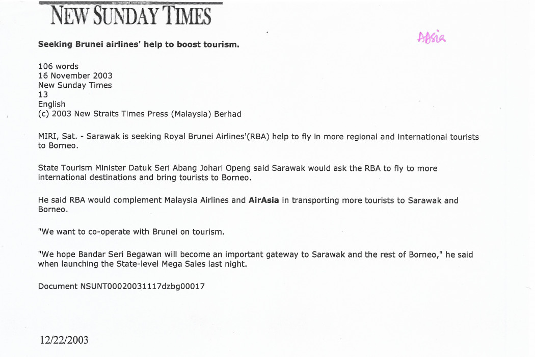 Seeking Brunei airlines' help to boost tourism