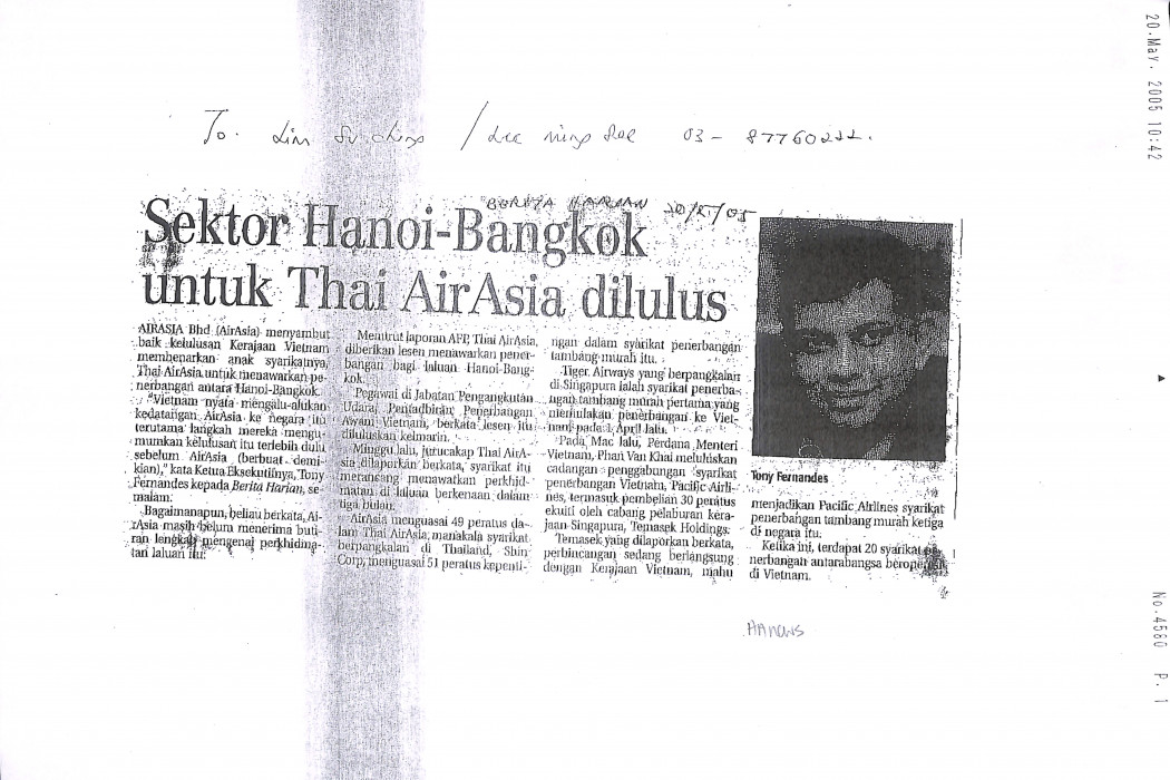 Sektor Hanoi-Bangkok untuk Thai airasia dilulus