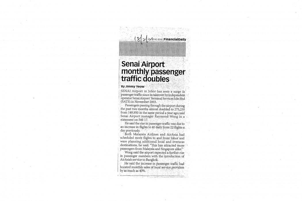 Senai Airport monthly passenger traffic doubles