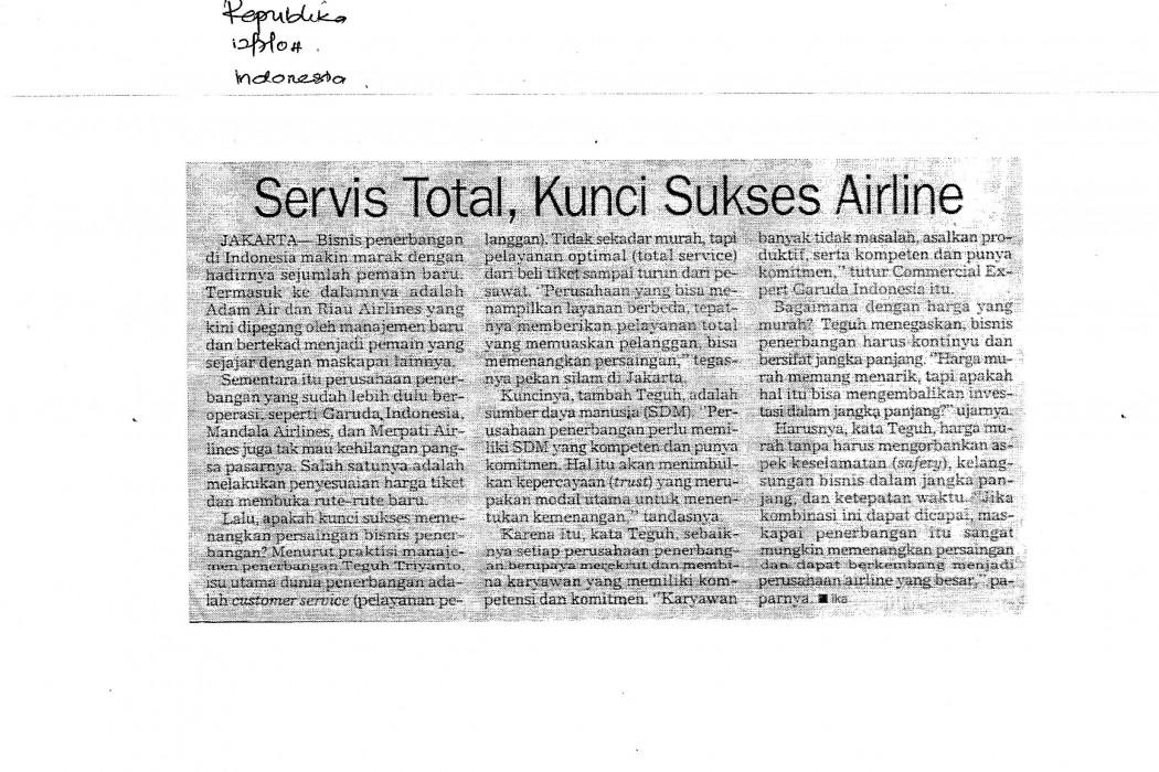 Servis Total, Kunci Sukses Airline