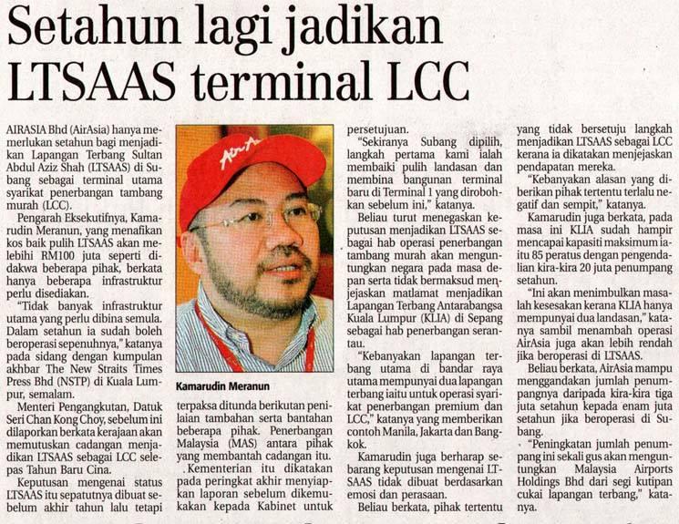 Setahun lagi jadikan LTSAAS terminal LCC