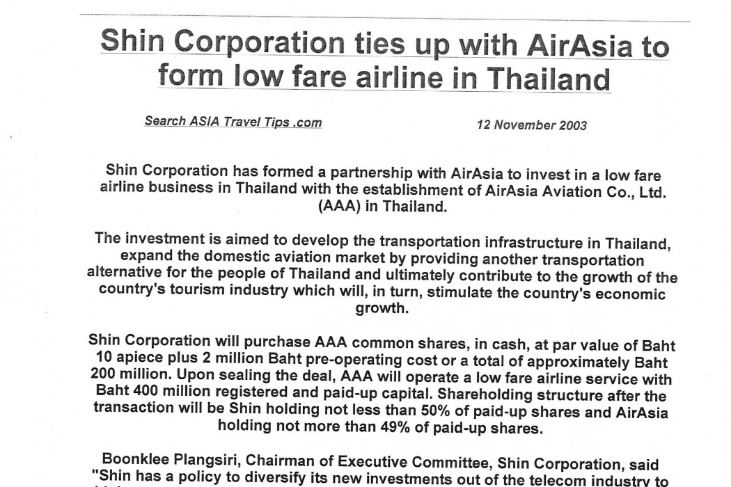 Shin Corporation ties up with airasia to form low fare airline in Thailand - 01