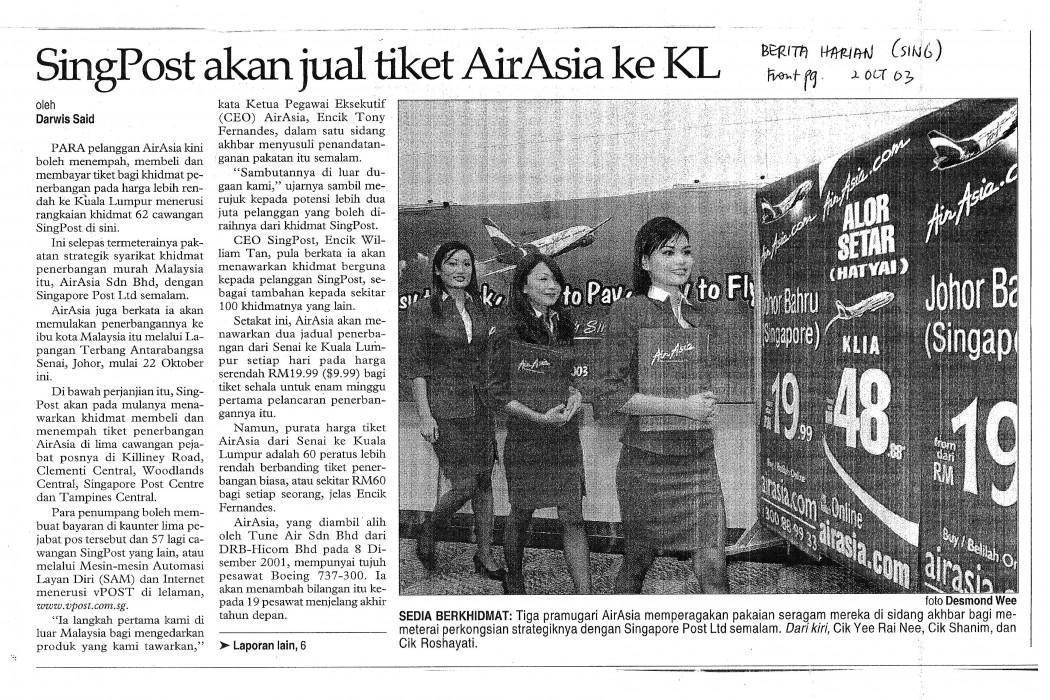 SingPost akan jual tiket airasia ke KL