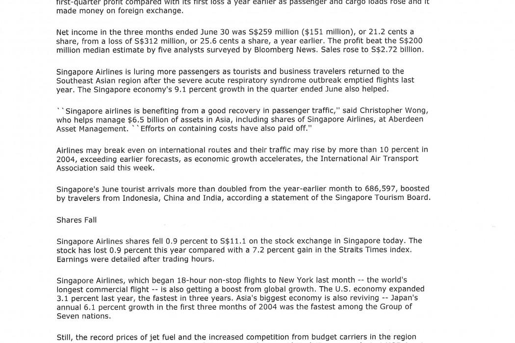 Singapore Airlines Has S$259 Mln 1st-Qtr Profit (1)