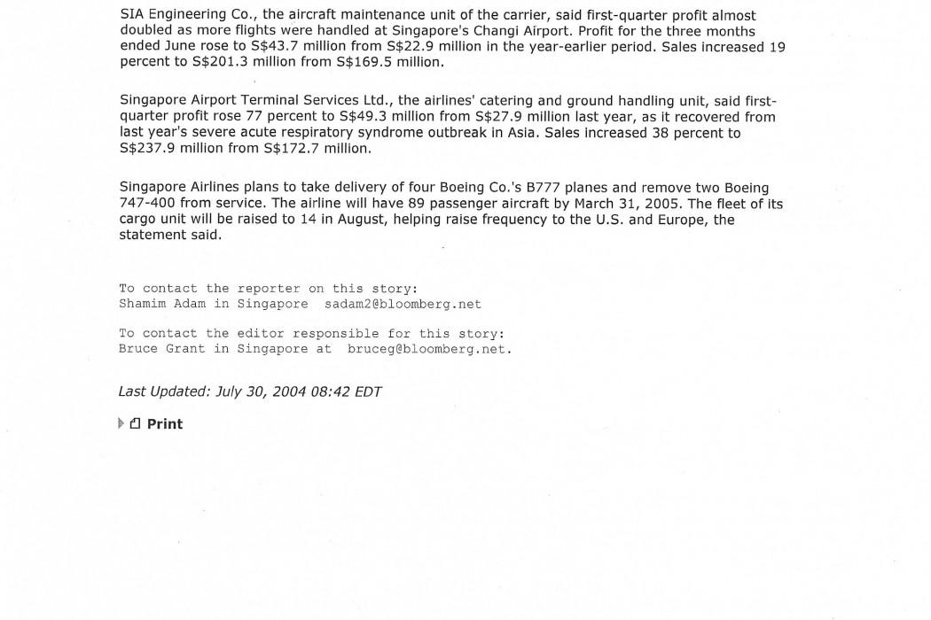 Singapore Airlines Has S$259 Mln 1st-Qtr Profit (2)