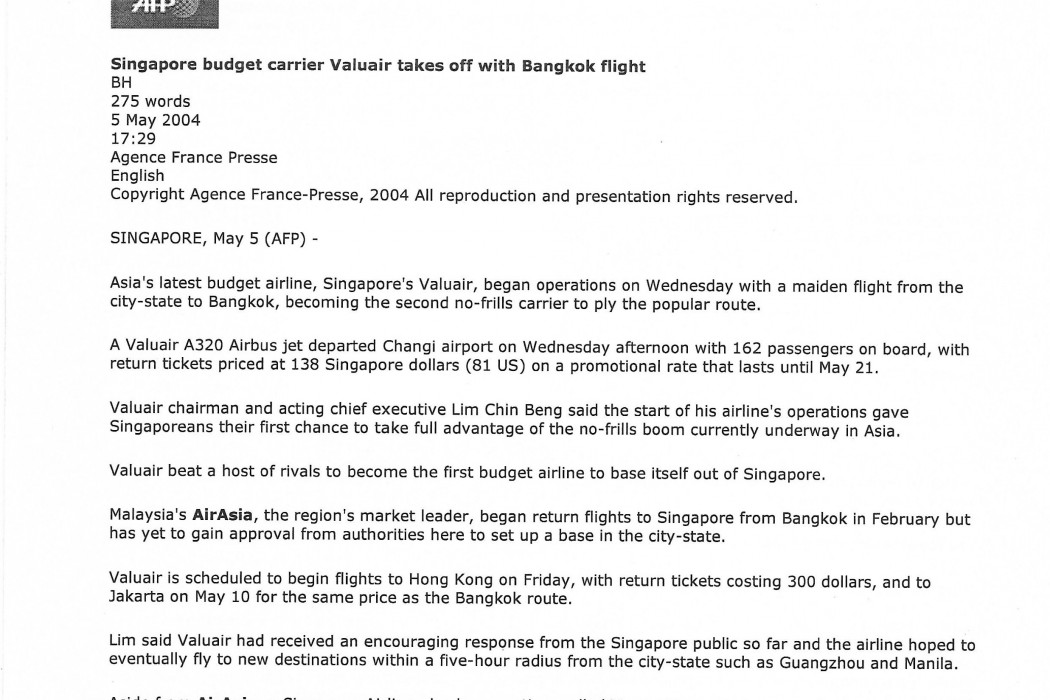 Singapore budget carrier Valuair takes off with Bangkok flight