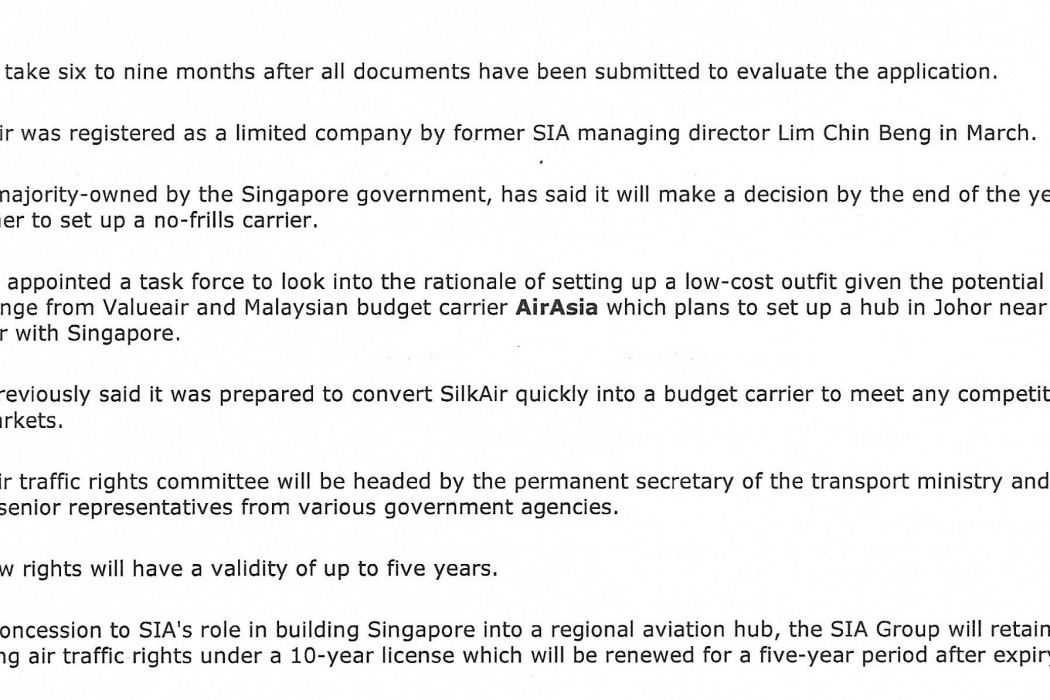 Singapore clears way for new carriers to compete with SIA (2)