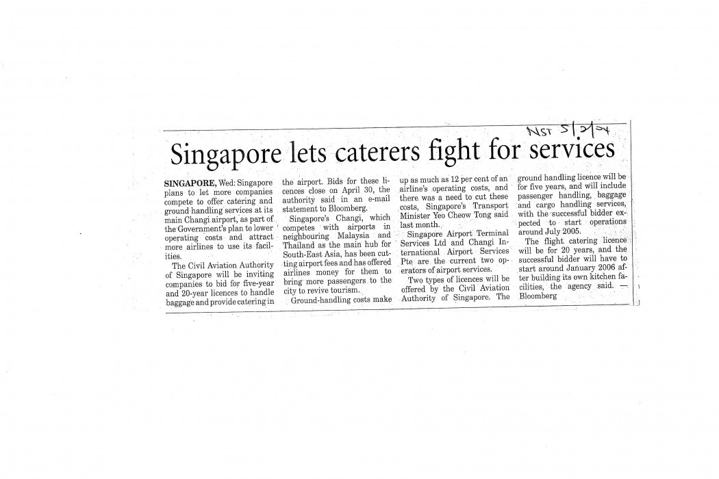 Singapore lets caterers fight for services