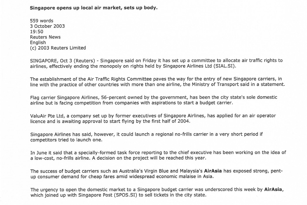 Singapore opens up local air market, sets up body (1)
