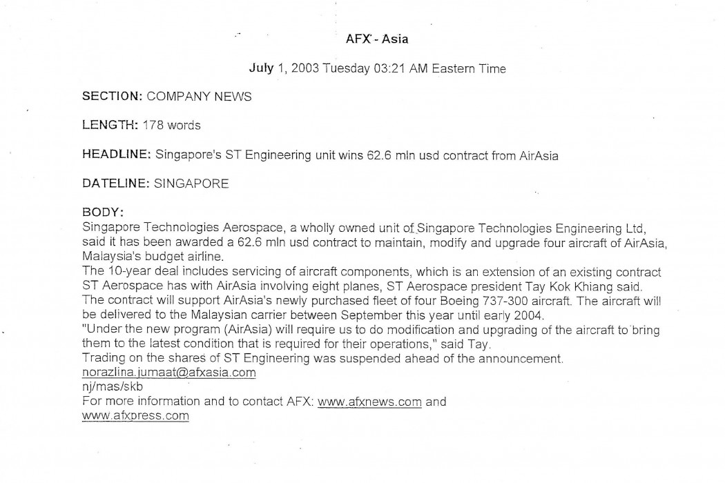 Singapore's ST Engineering unit wins 62.6 mln USD contract from airasia