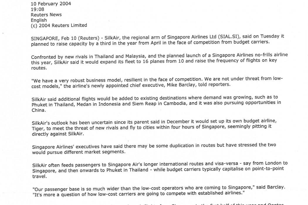 Singapore's SilkAir plans to raise capacity 33 pct.