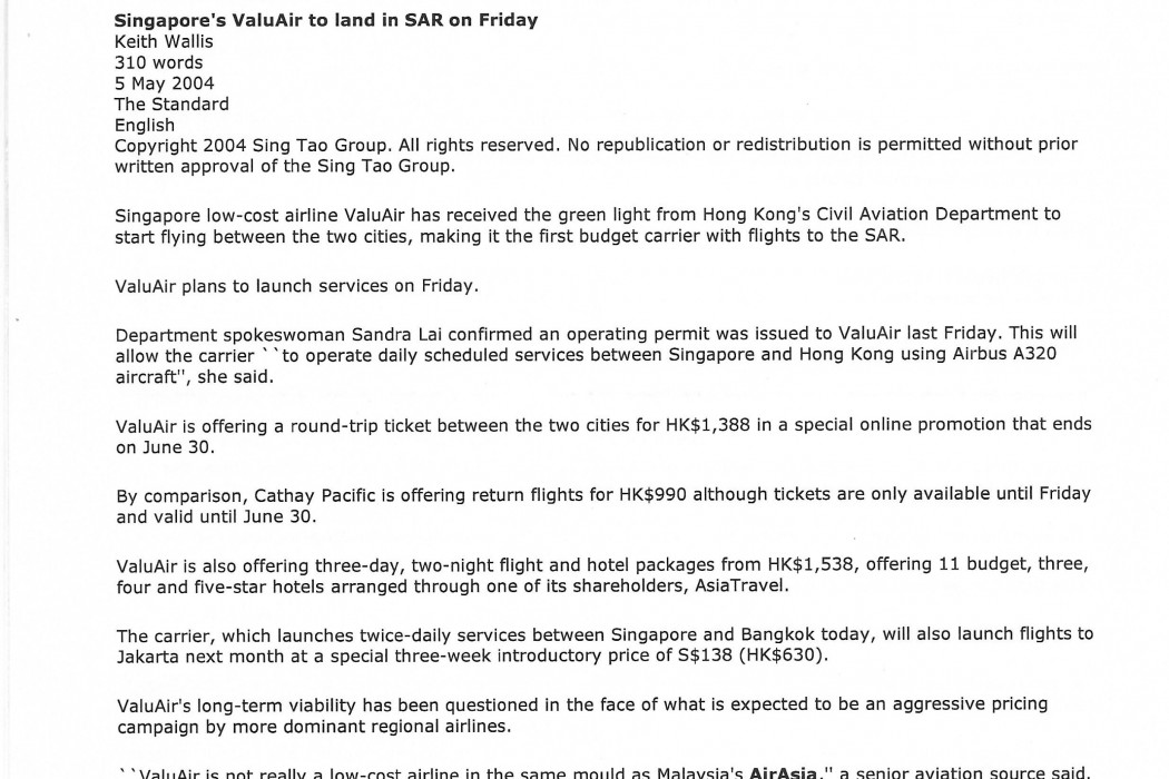 Singapore's ValuAir to land in SAR on Friday