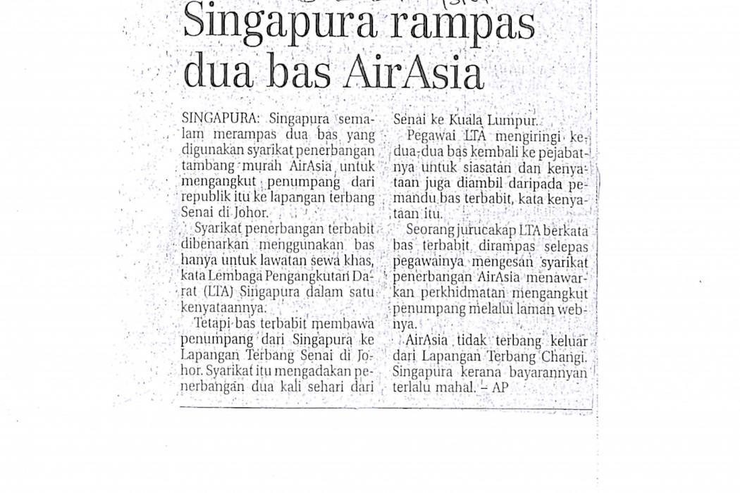 Singapura rampas dua bas airasia