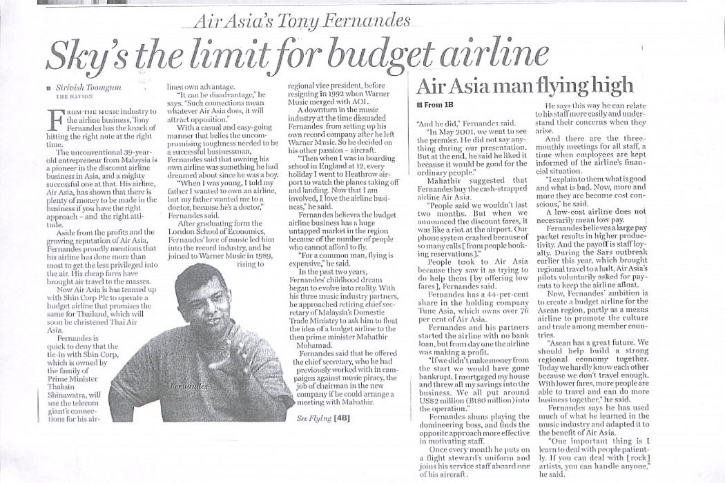 Sky's the limit for budget airline