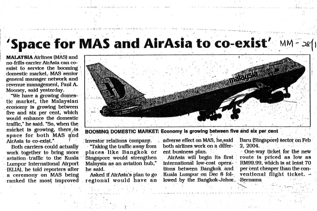 Space for MAS and airasia to co-exist'