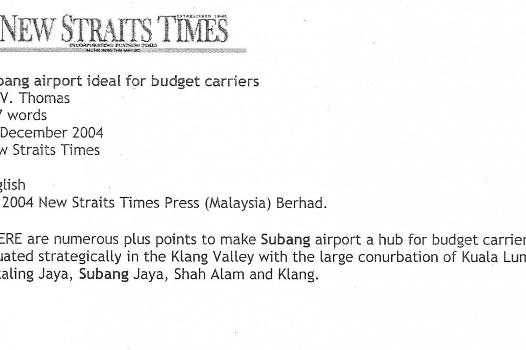 Subang Airport ideal for budget carriers - 01