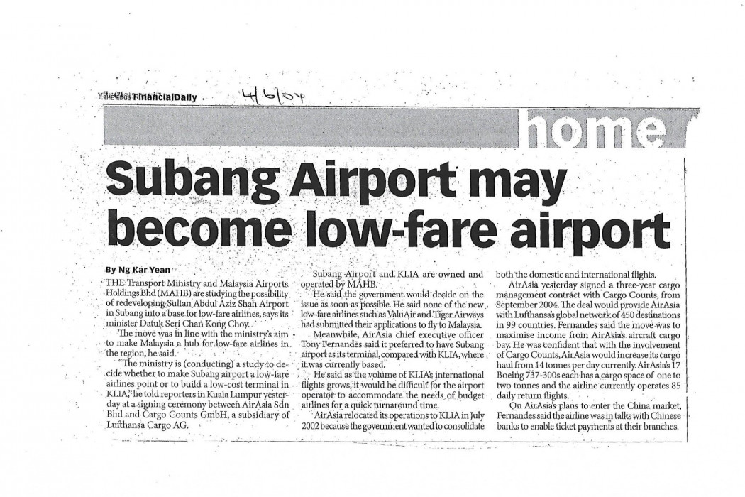 Subang Airport may become low-fare airport