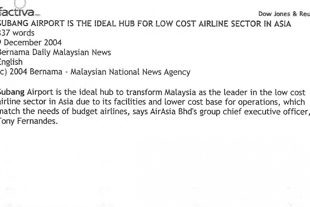 Subang airport is the ideal hub for low cost airline sector in Asia - 01
