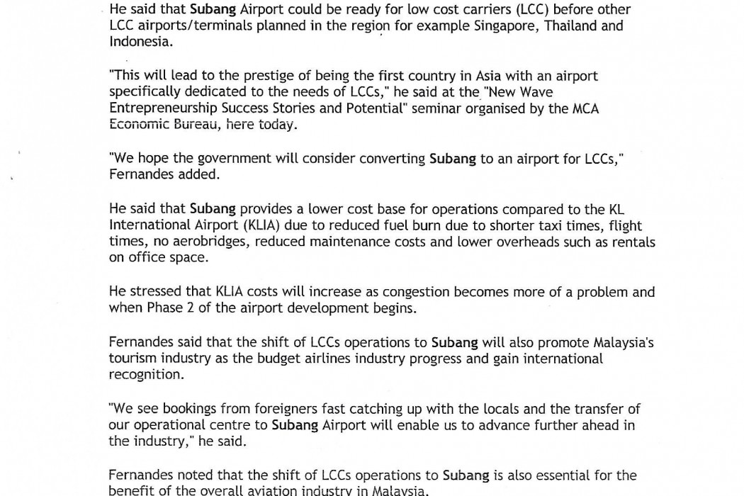 Subang airport is the ideal hub for low cost airline sector in Asia - 02