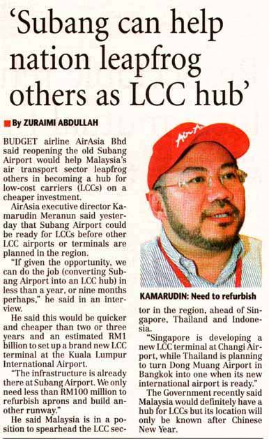 'Subang can help nation leapfrog others as LCC hub'
