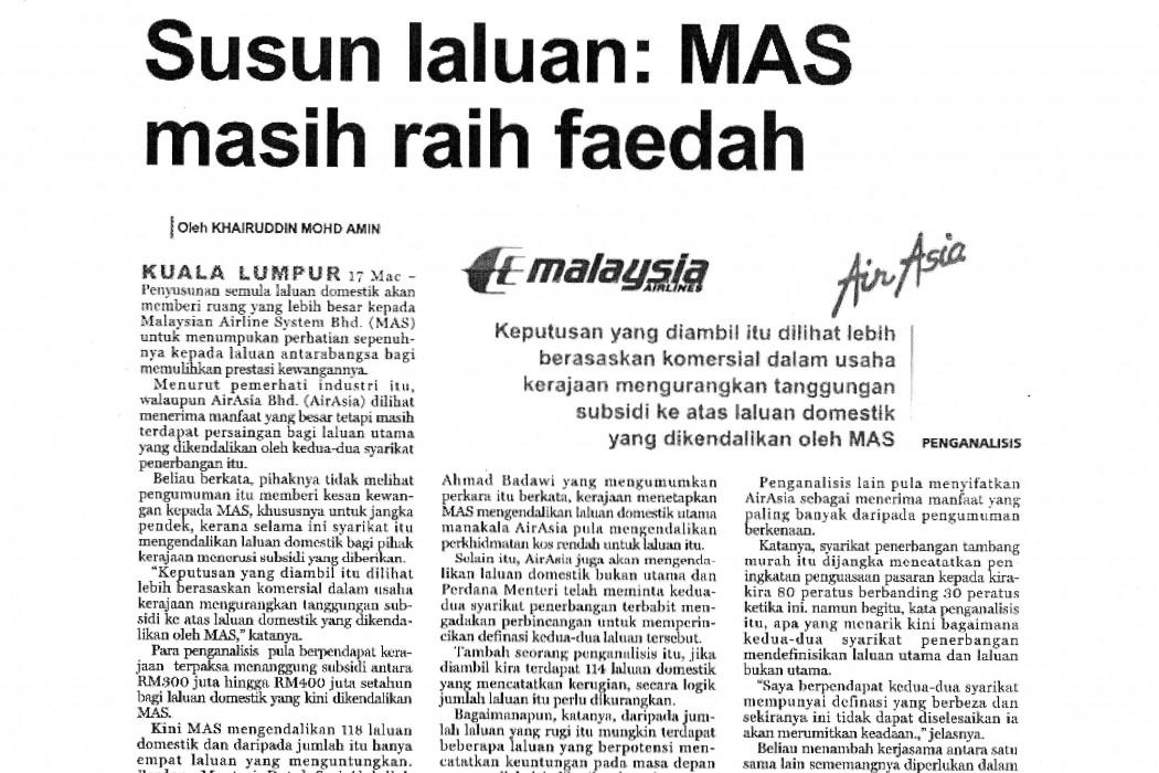 Susun laluan MAS masih raih faedah