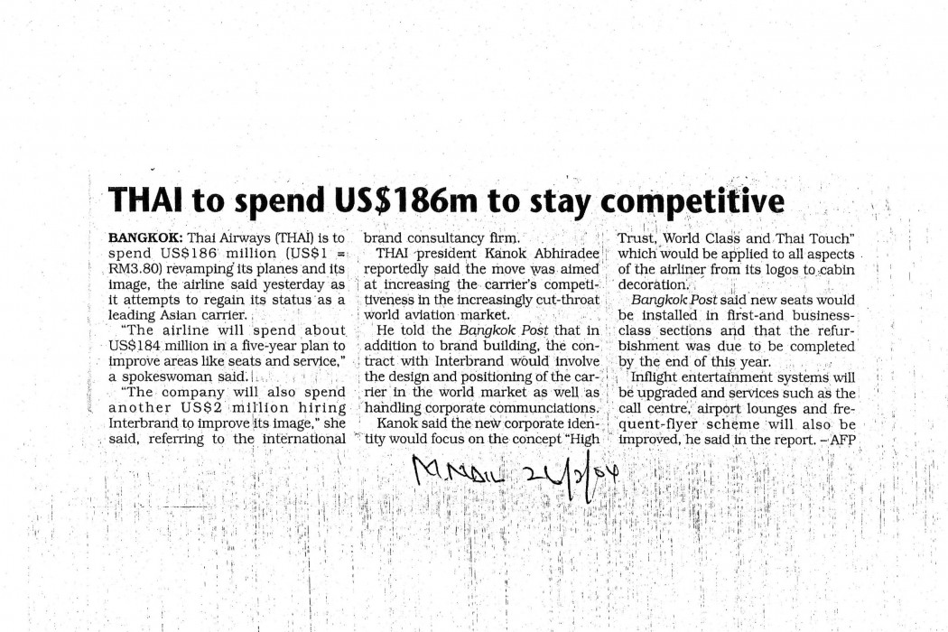 THAI to spend US$186m to stay competitive