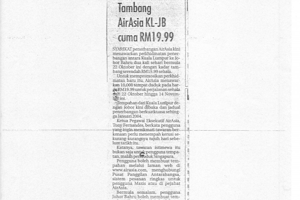 Tambang airasia KL-JB cuma RM19.99