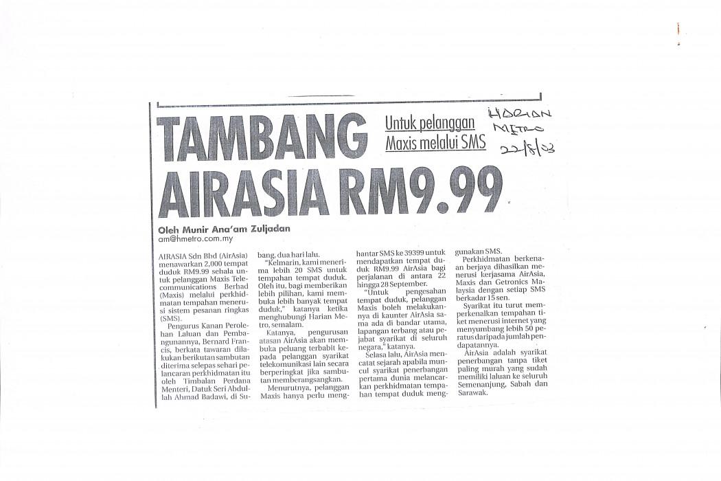 Tambang airasia RM9.99
