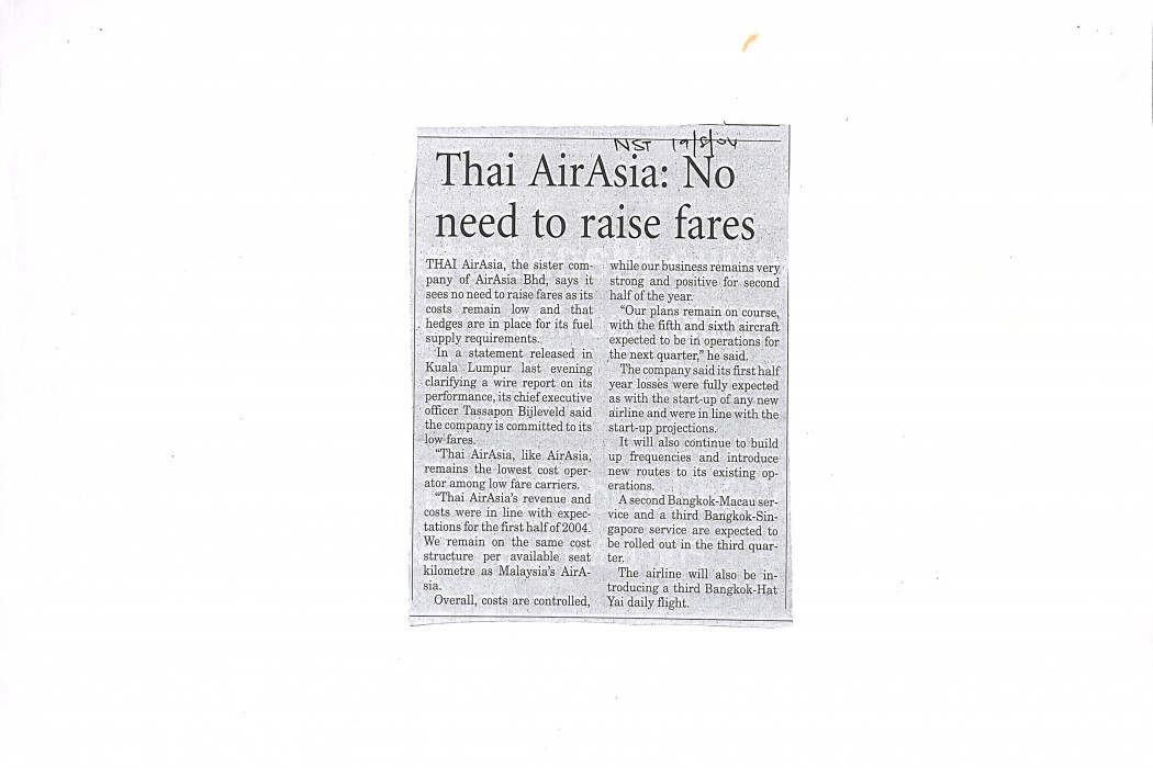 Thai airasia No need to raise fares