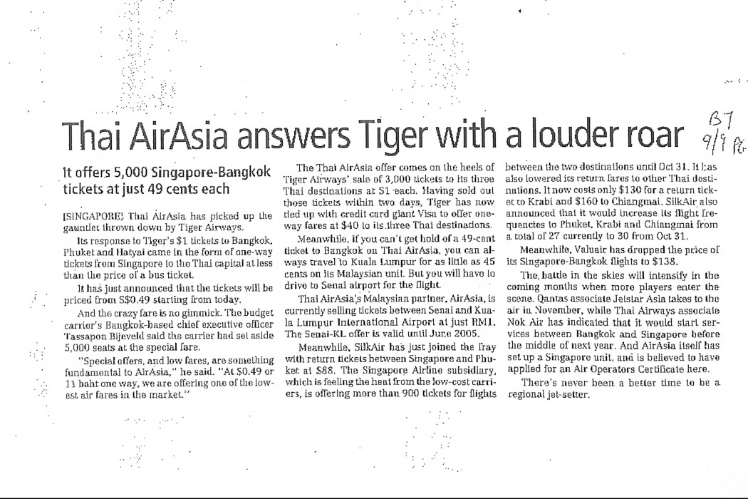 Thai airasia answers Tiger with a louder roar