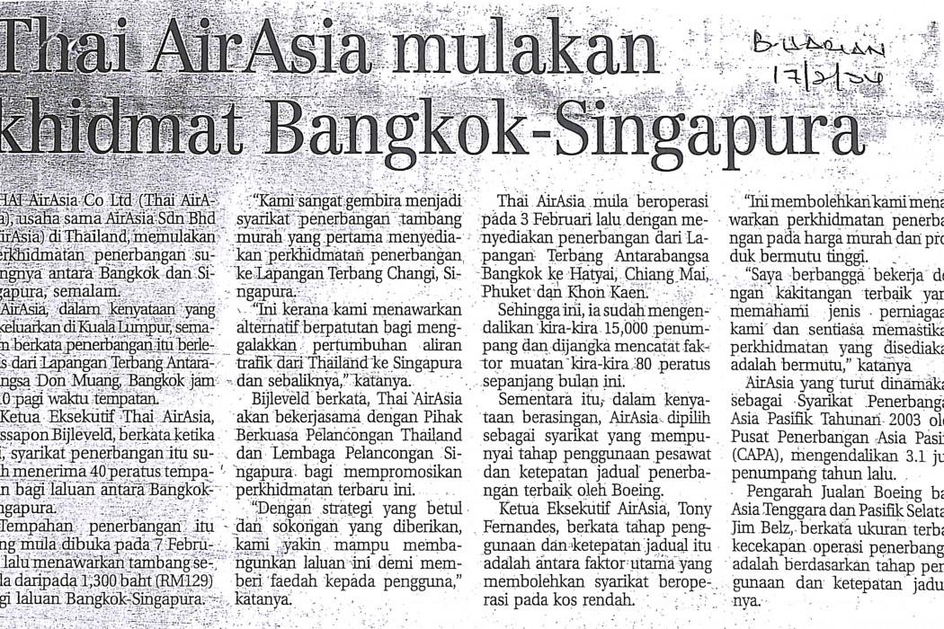 Thai airasia mulakan khidmat Bangkok-Singapura