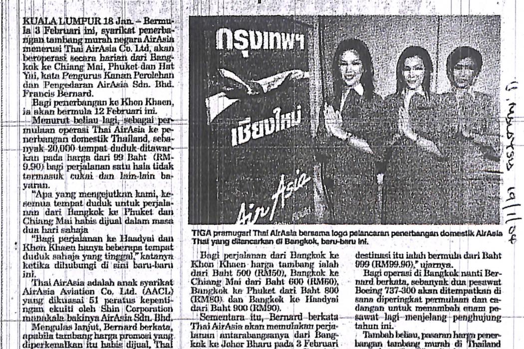 Thai airasia mulakan perkhidmatan domestik