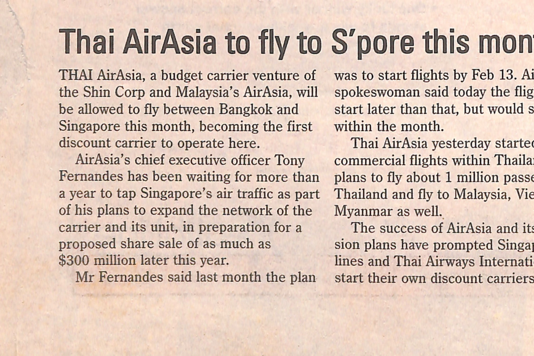 Thai airasia to fly to S'pore this month