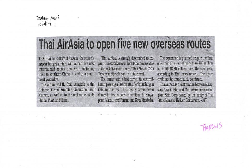 Thai airasia to open five new overseas routes