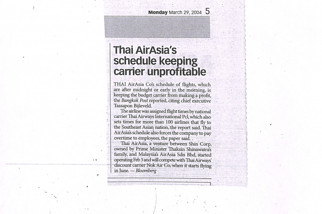 Thai airasia's schedule keeping carrier unprofitable