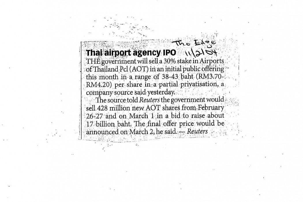 Thai Airport agency IPO